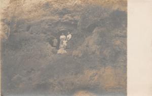 F24/ Anita? Iowa Real Photo RPPC 2 Postcards Geology Rocks People