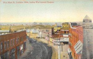 G17/ Lewiston Idaho Postcard c1910 West Main Street Stores Bridge