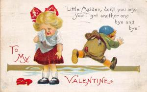 C33/ Valentine's Day Love Holiday Postcard c1910 Toledo Ohio Crying Girl Boy 17