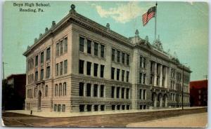 Reading, Pennsylvania Postcard Boys High School Building / Street View c1910s