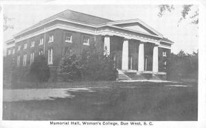Due West South Carolina Womans College Memorial Hall Antique Postcard K25148