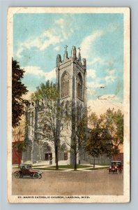 Lansing MI, St Marys Catholic Church, Vintage Michigan Postcard