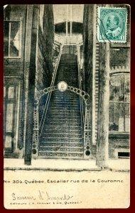 dc321 - QUEBEC CITY Postcard 1900s Escalier Rue de la Couronna by Kirouac