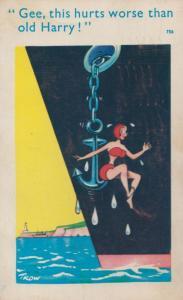 Sexy Lady Overboard Anchor In Bikini Boat Ship Disaster Comic Humour Postcard