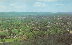 Binghamton New York Bird's Eye View~Houses-Buildings-Lots of Trees-River~'50s Pc