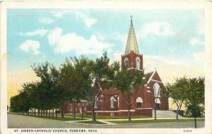 Tonkawa Oklahoma~St Joseph Catholic Church~1920s Postcard