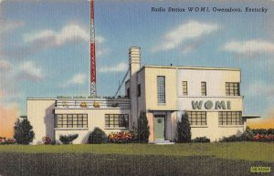 Owensboro Kentucky Radio Station WOMI Linen Vintage Postcard AA41734
