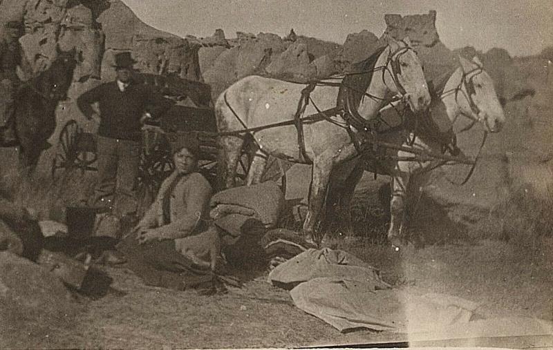 1904-18 RPPC Camping Trip Men Women Carriage Western Teepee Real Photo Postcard