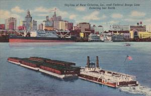 Louisiana New Orleans Skyline and Federal Barge Line Entering Her Berth 1954 ...