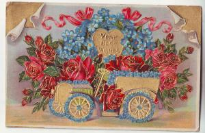 P663 JLs, 1910 best wishes colorful old car decorated with flowers
