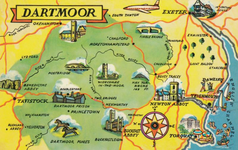 DARTMOOR, Devon, England, 1940-60s; Map