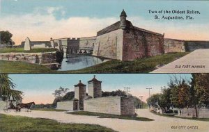 Florida Saint Augustine Two Of the Oldest Relics Old Fort Marion And Old City...