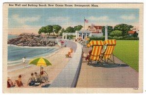 Swampscott, Mass, Sea Wall and Bathing Beach, New Ocean House