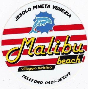 Italy Venezia Malibu Beach Villaggio Turistico Vintage Luggage Label sk3340