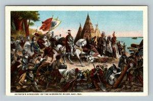 De Soto's Discovery Of Mississippi River 1541 Vintage Postcard
