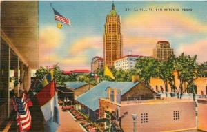 San Antonio Texas~La Villita~Original City Center c1718~1940s Linen Postcard