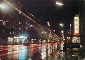 Postcard Warsaw Poland street view ulica krucza night lights