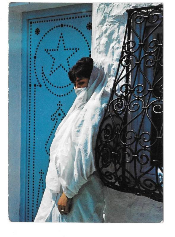 Tunisia Hammamet Fatma Devant sa Porte Beautiful Woman PC