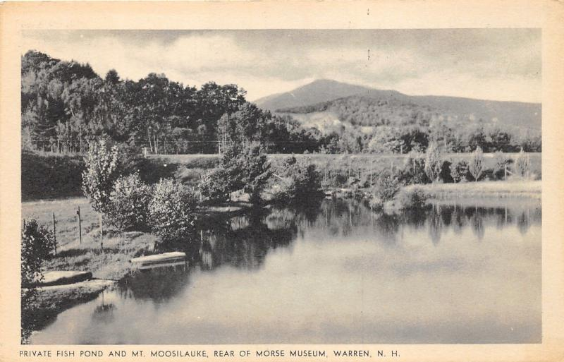 Warren New Hampshire~Private Fish Pond & Mt Moosilauke (Morse Museum View)~1940s