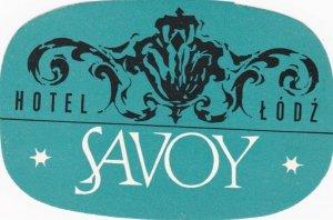 Poland Lodz Hotel Savoy Vintage Luggage Label lbl1633