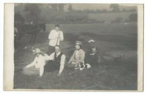 Family with Farm Worker RP PPC, Unposted, Group Shot with Horse & Dog