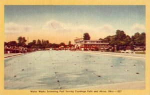 WATER WORKS SWIMMING POOL serving CUYAHOGA FALLS & AKRON OH 1945 AAU meet site
