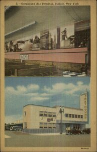 Buffalo NY Greyhound Bus Station LINEN Postcard