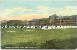 Fortress Monroe, Virginia, Soldiers drilling with Shelter Tents, 00-10s