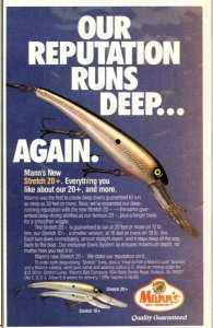 1989 Mann's Stretch 20 + Fishing Lure print Ad Old Fishing Lures