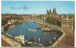Netherlands, AMSTERDAM, Prins Hendrikkade and St. Nicholas Church, 1960s used