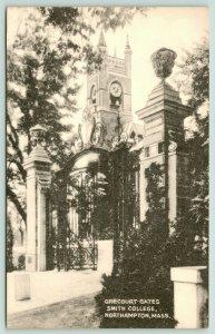 Northampton Massachusetts~Smith College~Grecourt Gates~Clock Tower~1940s B&W
