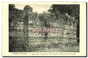Old Postcard Ruins D Angkor Thom called Leper King Terrace of the north of th...