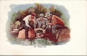 Panning for Gold Three Men c1907 Postcard D76