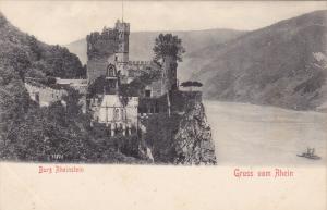 BURG RHEINSTEIN, Rhineland-Palatinate, Germany, 1900-1910's; Gruss Vom Rhein