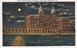 OLD POINT COMFORT, Virginia, 1910-1930's; Hotel Chamberlain-Vanderbilt, Night