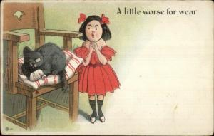 Little Girl & Black Kitty Cat w/ Eye PatchLITTLE WORSE FOR WEAR Postcard c1905