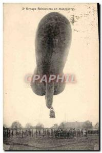 Postcard Old Zeppelin Airship 2nd group balloonists maneuver Army