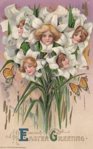 John Winsch, PU-1911; EASTER;. Samuel Schmucker. Fantasy , Women's Faces in F...