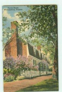 Travis House, Williamsburg, Virginia VA Curteich Linen Postcard