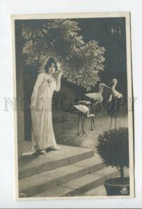 433976 NYMPH Goddess Belle & STORK Vintage PHOTO postcard NPG #179-7