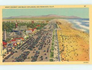 Unused Linen AMUSEMENT PARK AT BEACH San Francisco California CA M7126-22