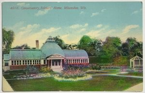 Old Divided Postcard Conservatory Soldiers Home, Milwaukee, Wisconsin Unused