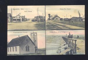 OGALALLA NEBRASKA UNION PACIFIC RAILROAD DEPOT MULTI VIEW VINTAGE POSTCARD