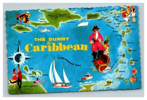 Vintage 1970 Postcard Greetings From the Sunny Caribbean - Map Pirates Sailboats