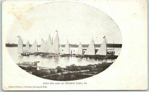 Okoboji Lake, Iowa Postcard After the Race Yachts Sail Boats c1900s Unused