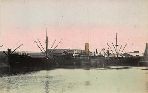Benavon Cargo Steamship Tinted Real Photo RPPC Postcard