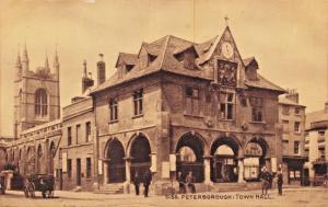 PETERBOROUGH NORTHAMPTONSHIRE ENGLAND-TOWN HALL-SEPIATONE SERIES POSTCARD