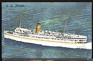 SS Florida P & O Steamship Co Miami Fla. Ship Ocean Liner Postcard
