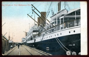 dc1794 - AUSTRALIA Melbourne Postcard 1910s Steamers in Harbor