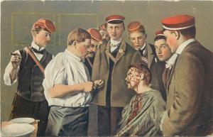 Heidelberg Mensur Fencing school wounded student Studentika vtg postcard Germany